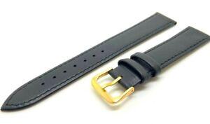 Mens Ladies 100% Genuine Real Leather Watch Strap BLACK 8 10 12 14 16 18 20 22mm