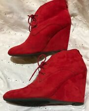 Worthington Women's Round Toe Lace Up Wedge Heels Faux Suede Ankle Booties 9.5