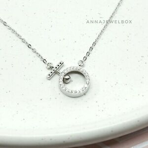 925 Sterling Silver Cubic Zirconia CZ Crystal Hoop Necklace Women Gift for Her
