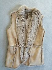 M&S Suede & Faux Fur Gillet in Neutral size 14