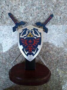 "7.5"" Twin Anime Legend of Zelda Swords Fantasy Letter Opener w/ Shield & Stand"