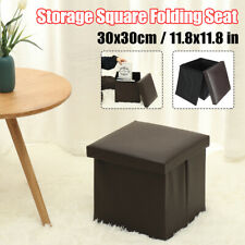 12inch Storage Square Folding Ottoman Seat Stool Box Footrest Home Footstools
