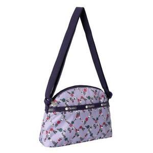 LeSportsac Classic Half Moon Crossbody Bag in Hudson Hearts Purple NWT