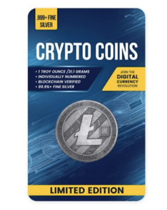 2020 Chad 1oz Silver Litecoin Crypto Currency Antique in Digital Certicard