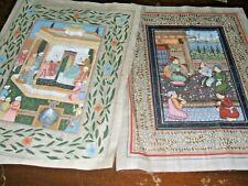 2 Vintage Indian Paintings on Silk Fabric