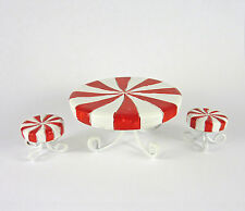 Dollhouse Miniature Holiday Candy Cane Table & Stools Set, 16691