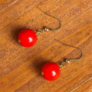 Natural red agate Earrings gold eardrop Chain lady Gift Fashion New Year