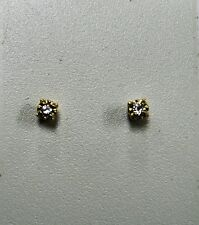 .10pt TWT Round Diamond Stud Earrings 14KT Yellow Gold Illusion Setting