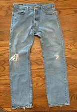 VTG Levi's Men's 501 Distressed Cowboy Ripped Button Fly Denim Jeans 34x32