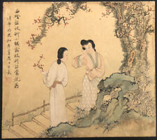 """ANTIQUE CHINESE WATERCOLOR SCROLL PAINTING ON SILK""""YOUNG LADIES"""" RED SEAL"""