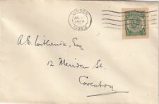 GB : 1928 GV  1/2d P.S. cut-out used as a  stamp on an envelope to Coventry