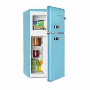 Réfrigérateur Combiné Congélateur Frigo 61L Congélo 24L Classe F Rétro 50 Bleu