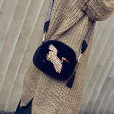 Velvet Embroidery Strap Shoulder Bag DESIGNER Tassel Vintage Crossbody Bags FT Black