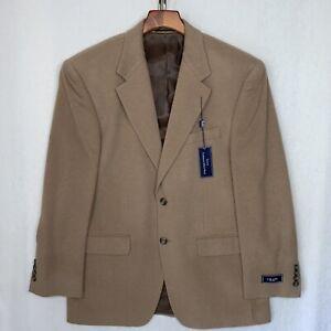 CHAPS Ralph Lauren Wool Silk Cashmere Blazer Sport Jacket, 38R, Tan NWT
