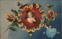 Valentine c1910 Postcard - Cupid Hearts & Flowers Embossed Blue Background