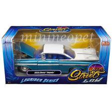 JADA 98923 STREET LOW LOWRIDER SERIES 1959 CHEVROLET IMPALA 1/24 WHITE TOP BLUE