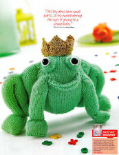 KNITTING PATTERN TOY ALBERT FROG PRINCE WITH CROWN VAL PIERCE DK 24X16 CMS