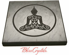 1 SHUNGITE Square Plate w/ Buddha etched, Polished Altar Stone, Crystal #SS63