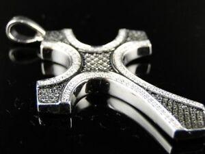 Unisex Round Black/White Diamond 14K White Gold Plated Unique Cross Pendant