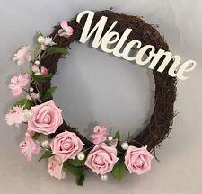 Flores de color rosa Puerta Ramita Corona Rosa Perlas De Pared Decoración signo Bienvenido corazón