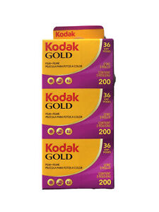 3er Pack Kodak Gold 200 135-36 Farbfilm Color Kleinbildfilm MHD 02/2023