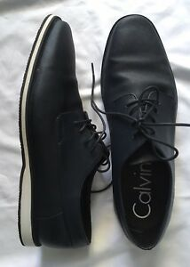 CALVIN KLEIN Mens US SZ 12 Navy Saffiano Leather Lace Up Casual Oxfords