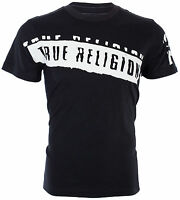 TRUE RELIGION Mens T-Shirt STENCEL GRAPHIC Black with White Print $69 Jeans NWT