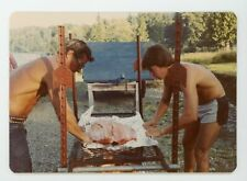 Shirtless fit muscular guys bbq salmon    Vintage snapshot color photo