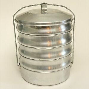 "Vintage Regal Ware Aluminum Stackable ""Picnic Pack"" Camping Food Carrier Set"