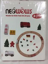 Neowows Wooden Car Circle Track Set 25 Piece