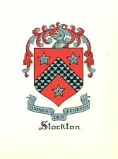 Great Coat of Arms Stockton Family Crest genealogy, would look great framed!