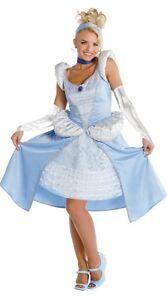 Cinderella Disney Princess Blue Ball Gown Dress Up Halloween DLX Adult Costume