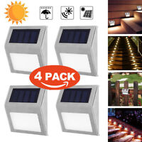 4pcs Solar 3LED Stainless Steel Garden Pathway Patio Step Stair Deck Lamp Light