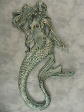 "Mermaid Cast Iron Nautical Wall Sculpture 17 1/2"" Tall Antique Gold over Seafoam"