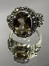 Vintage CNA Smokey Quartz Marcasite Ring Size 9 8.7 Grams.
