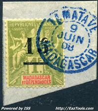 MADAGASCAR TYPE GROUPE N° 50 CACHET BLEU DE TAMATAVE 09/06/1908 SUR FRAGMENT