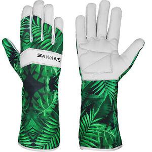 Leather Gardening Gloves Ladies Men Thorn Proof Garden Work Long Short Gloves UK
