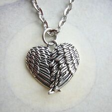 Small Angel Wings Heart Necklace - 925 Sterling Silver Pendant - Bird Wing Charm