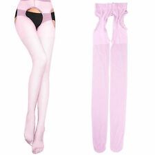 Women Sexy Pantyhose Tights Suspender Crutchless Sheer Open Crotch Stockings