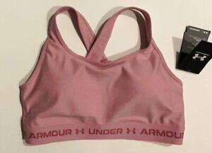 NWT Under Armour Women's 2XL Mid Crossback Pink Heather Sports Bra XXL