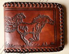 Vtg Hand Made Tooled Leather Western Horses Wild Mustangs Wallet Billfold Brown