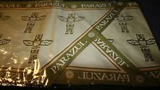 "New 100% Silk Scarf 8.25"" x 62"" Parazul Totem Pole Pacific Northwest Design"