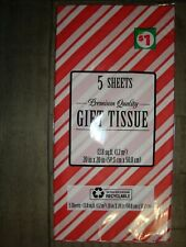 """Dg Premium Quality Christmas """"Candycane"""" Gift Tissue 5 Sheets 20 in x 20 in New"""
