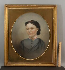 19thC Antique Portrait Pastel Drawing Woman w/ Gold Brooch Gilt Frame NO RESERVE