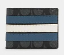 Coach 3008 Wallet In Signature Canvas with Varsity Stripe - Blue