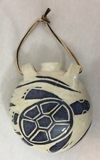 """SEA TURTLE CANTEEN CERAMIC WALL HANGING MARKED """"WELLS"""" BLUE ON NATURAL POTTERY"""