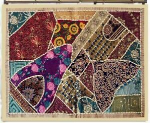 Indian Tapestry Wall Hanging Patchwork Beige Embroidered Bohemian Decor Throw
