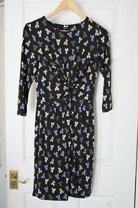Next ~ Black Bow Print Dress With Stretch ~ Size 12 ~ NWT