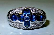 18K Solid White Gold 2.7 tcw Sapphire Diamond Dome Ring 8 grams Size 6.75