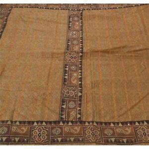 Tcw Sankriti Vintage Sarees 100% Pure Silk Embroidered Brown Fabric 5Yd Craft Sa